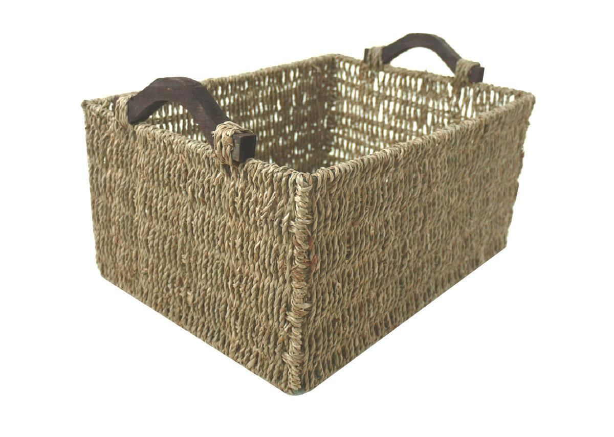 Deep Big Rectangle A4 Paper Magazine Seagrass Storage Basket Wooden Handles